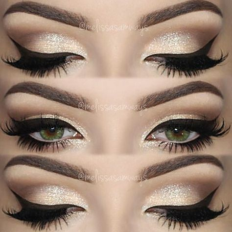 """Hey Loves! Champagne Smokey Eye Makeup TUTORIAL Link in my Bio! Products Used ✨ Eyebrows Essential Brow Kit @motivescosmetics ✨ Gel Eyeliner Stunninglyladylike Eyeshadow Base and Brilliant & Spellbinding Palette @sigmabeauty (use the code MELISSASB for 10% off) ✨ Eyelashes """"Whispie Me Away"""" @velourlashesofficial (use the code MELVELOUR for $$$ off) ✨ Contact Lenses Forest Green @desioeyes Olá amores! Champagne Smokey Eye Makeup O TUTORIAL desta maquia"""
