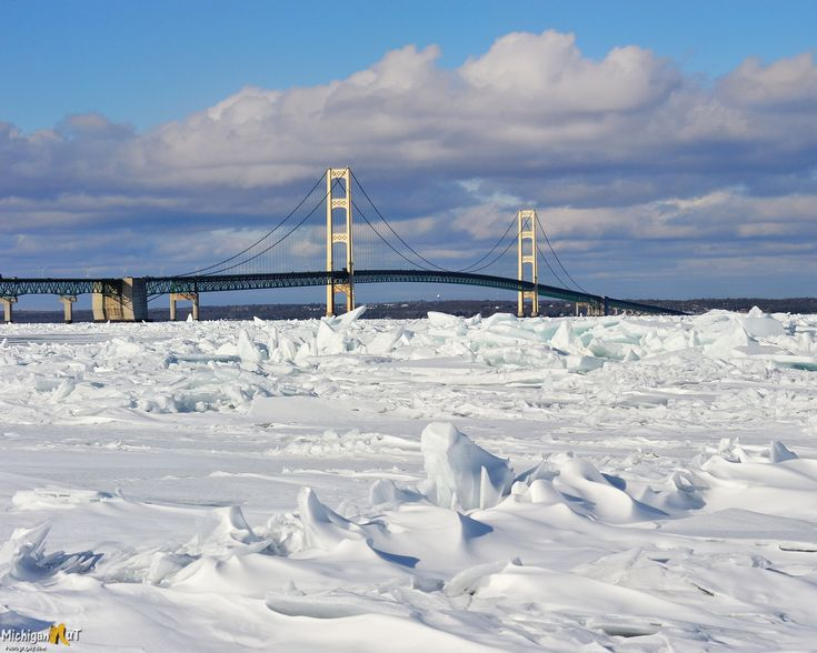 """""""Icy Straits"""" Winter at Mackinac Bridge, Michigan USA"""