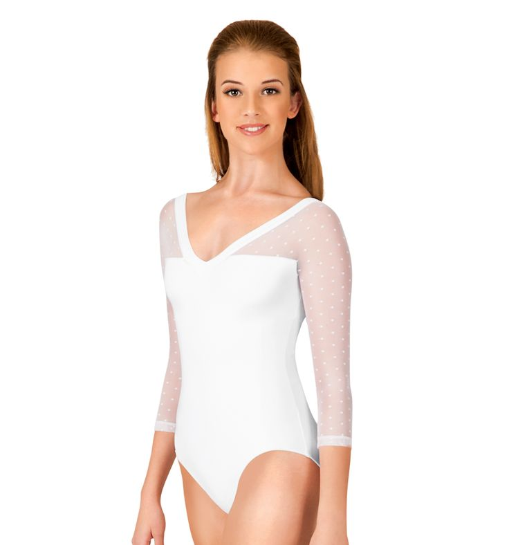 Adult Dot Mesh 3/4 Sleeve Leotard - Style Number: NC8821 Prettier in the black; but still nice in white.