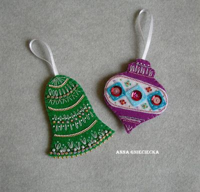Double sided handmade christmas tree ornament by Anna Gnieciecka Materials: felt, beads, chains, sequins, cotton thread