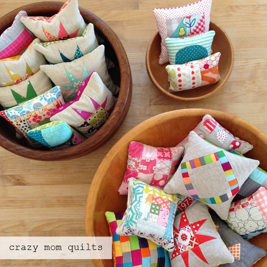 These are tiny quilted pincushions, but they could also make cute sachets if you stuffed them with lavender.