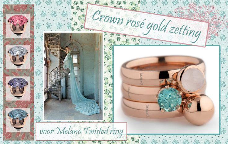 De Crown zettingen voor de Twisted serie van Melano laat de mooie kleuren en vorm van de zirkonia's extra goed zien!
