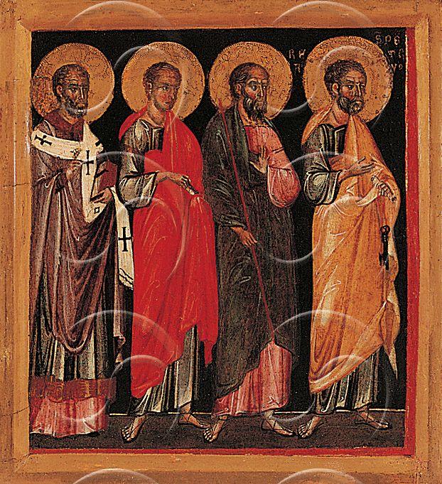 Maestro di Caorle (attivo nel IV-V decennio del XIV sec.) - I Santi Pietro, Andrea, Giovanni e un altro Santo Vescovo - Pinacoteca civica, Forlì
