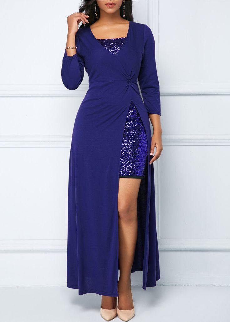 Sequin Embellished Mini Dress And Royal Blue Dress