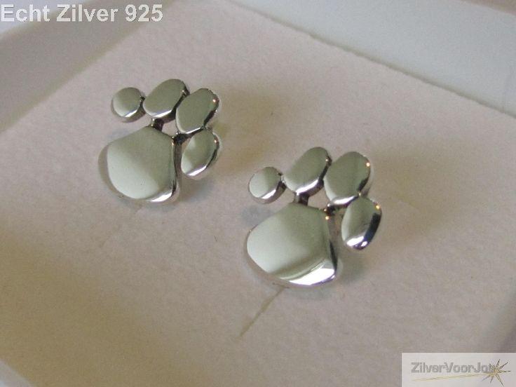 Zilveren oorstekers katten honden pootjes - ZilverVoorJou Echt 925 zilveren sieraden
