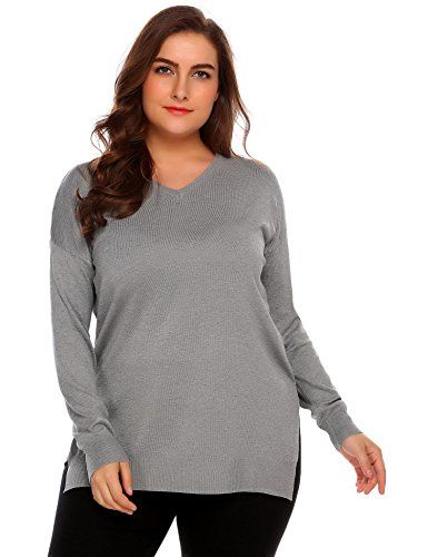 4ef692bf649 Decrum Plus Size Womens Knitted Long Sleeve Sweaters Lightweight Sweatshirt  Pullover Tops