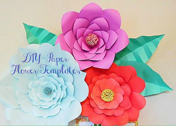 Giant Paper flower templates Large DIY by CatchingColorFlies