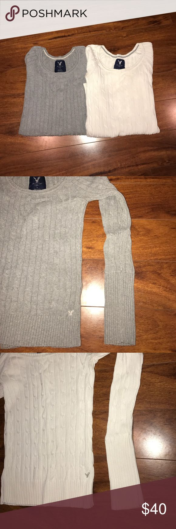 American Eagle Outfitters- Knit Sweater Bundle American Eagle Outfitters- Itm#1 Long Sleeve, Grey Knit sweater w/ silver embroidered logo. Size: s/p used; expected wear and tear.. in very good condition; like new. Itm#2 Off White, Long Sleeve, Knit sweater w/ silver embroidered logo. Size: s/p used; expected wear and tear. In okay condition (needs a few small stitches, please see picture).No returns/exchanges. No trades. No PayPal. Final Sale. Bundle. American Eagle Outfitters Sweaters Crew…