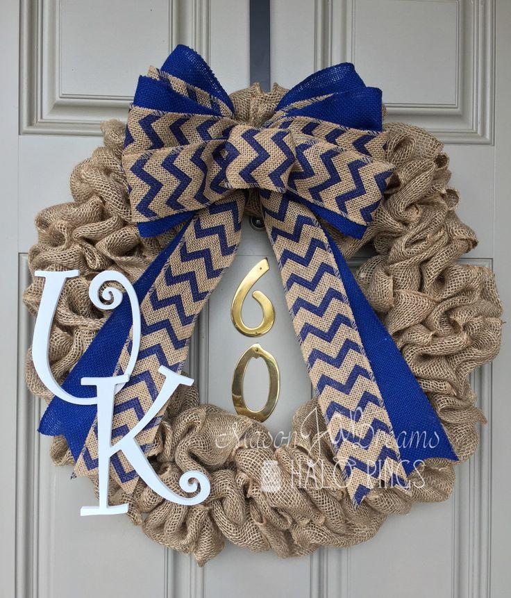 University of Kentucky Burlap Wreath, Kentucky Wildcats, UK, Big Blue Nation Wreath, Basketball Wreath, Football Wreath, Kentucky Wreath - pinned by pin4etsy.com