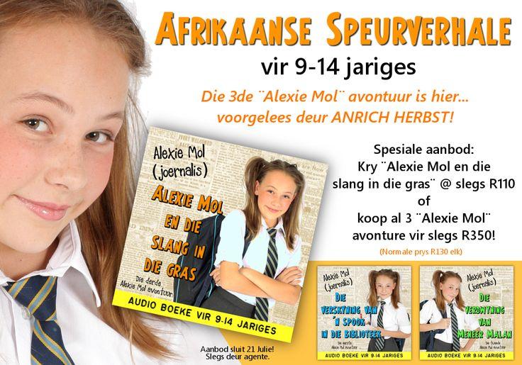 Afrikaanse audio boeke vir jong tieners. Spannende speurverhale voorgelees deur Anrich Herbst.  Nou beskikbaar by www.AnnaEmm.co.za