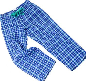 Brushed cotton blue and turquoise check pyjama bottoms at The Pyjama House