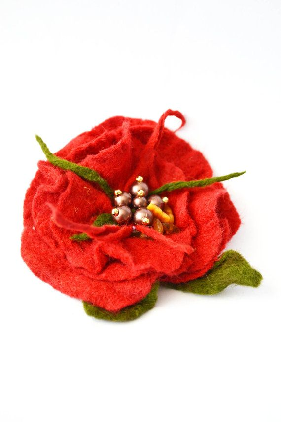 Red Rose Felt brooch with golden seeds beautiful by Laila4you, €24.50