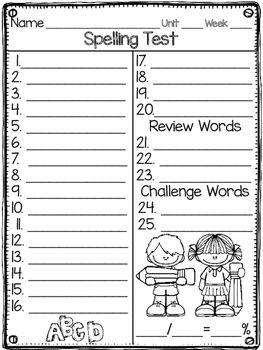 McGraw Hill Wonders EDITABLE Spelling & Pre-Test Printables FREEBIE