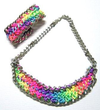 Neon multicolor braided chain set bracelet and necklace