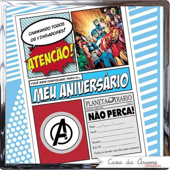 CONVITE ESTILO POP ART PARA FESTA OS VINGADORES (SUPER HERÓIS) - Pronto para…