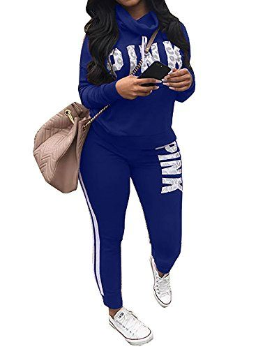 c2999379cad0 Chellysun Women Jumpsuit Cowl Neck Sweatshirt and Long Pants Tracksuit  Letter Print 2 Piece Outfits Fabric  71% Polyester+29% Cotton