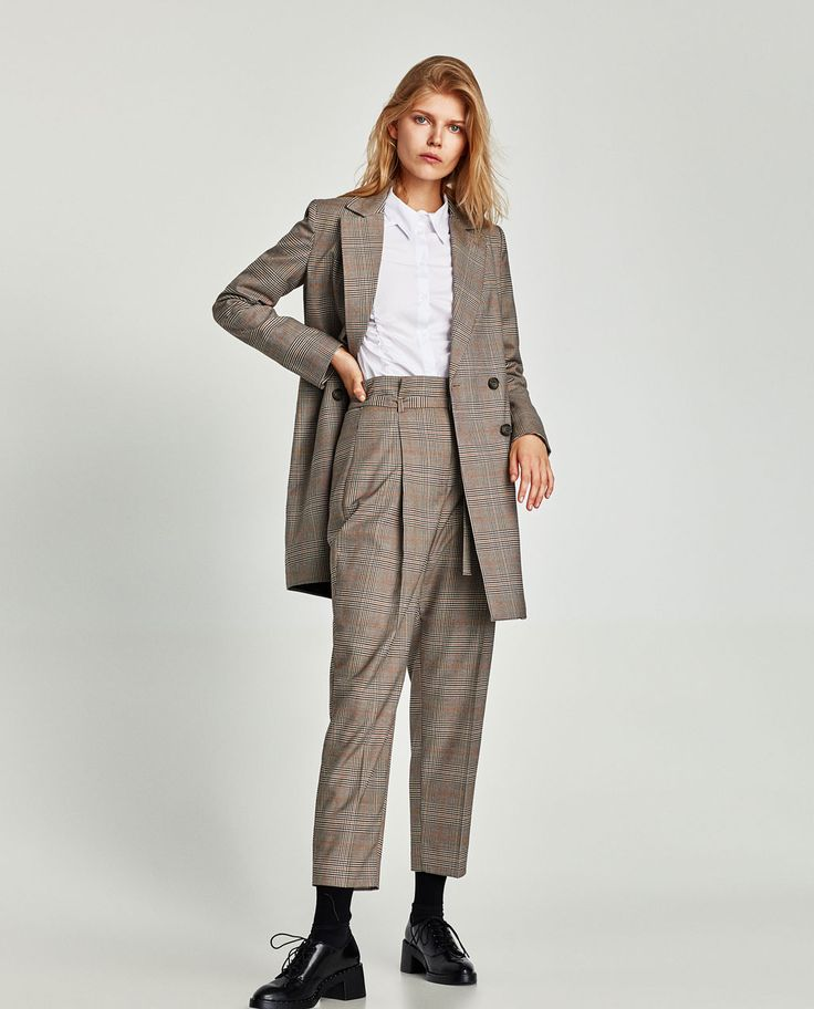Image 1 of HIGH WAIST CHECKED TROUSERS from Zara