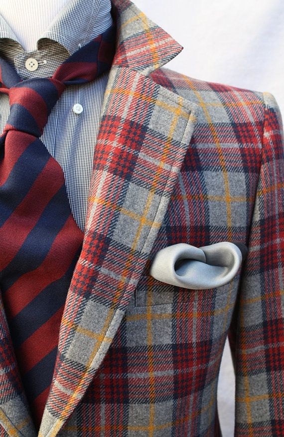 Vintage Mens 1970s Plaid Sportcoat Preppy Jacket Blazer Sport Coat Red Valentine
