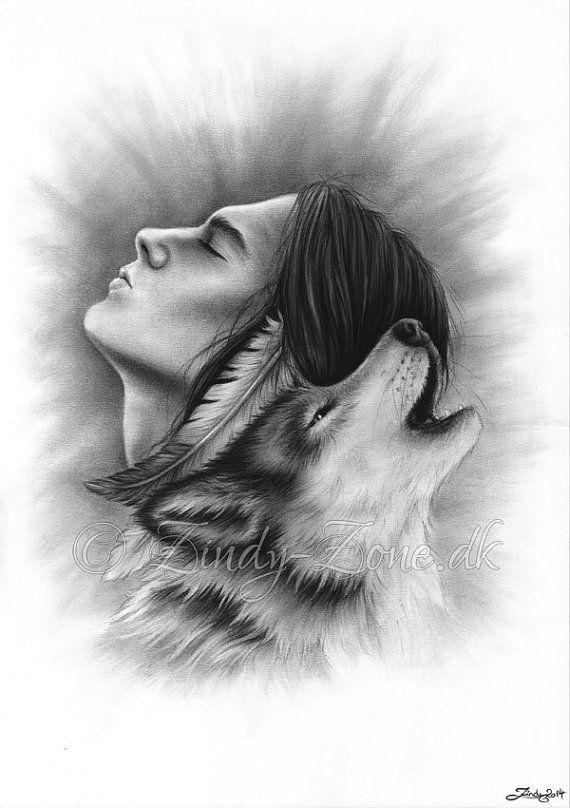 Connected Souls Wolf Native Indian Male Man Emo Art by zindyzone