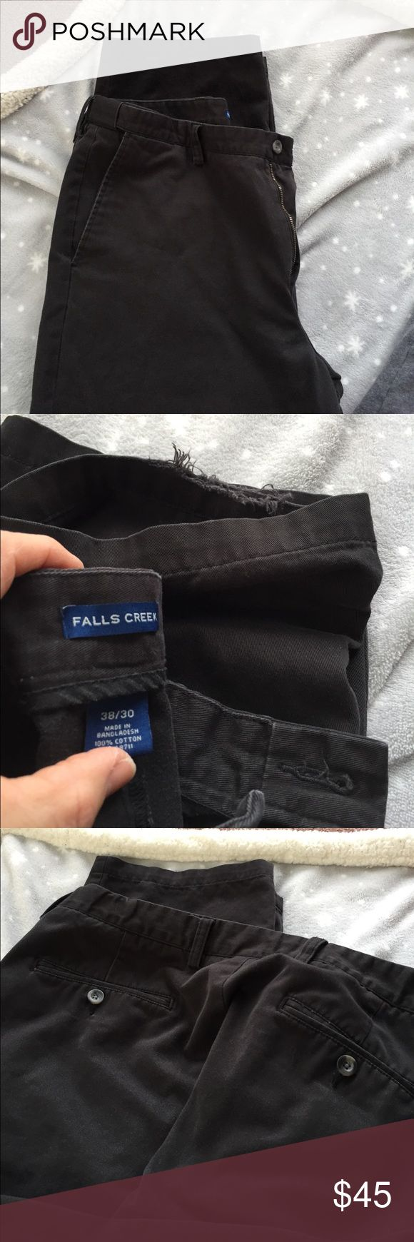 """2 pair of Men's Black pants Falls Creek Looking for the right person will bundle all the men's pants for a ridiculously cheap price!2 pair of men's gently used black khaki pants with pleats no stains just slight wear on the bottom of one pant leg barely noticeable in excellent condition for reuse. Waist is 38""""-29"""" inseam one is 30"""" inseam Falls Creek Jeans Relaxed"""
