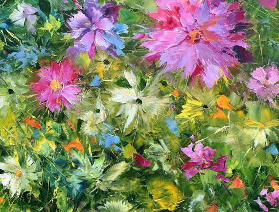 Zomermiddag. € 100,57 Hoge kwaliteit afdrukken op Canvas, Dmitry Spiros, woonkamer decor kunst aan de muur, home decor, bloemen schilderij.