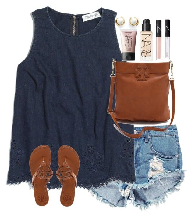 """""""Sunny sunday"""" by lauren-hailey ❤ liked on Polyvore featuring Boohoo, Madewell, Tory Burch, NARS Cosmetics and Kate Spade"""
