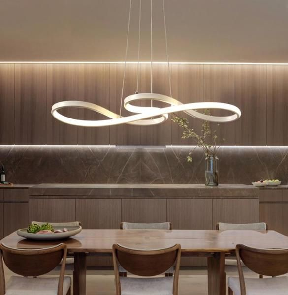Priapus Modern Led Infinite Loop Hanging Light Warmly Led Dining Room Lighting Dining Room Light Fixtures Modern Hanging Lights