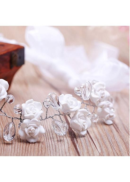 In Stock Attractive Alloy Wedding Hair Ornaments With Flowers & Rhinestones