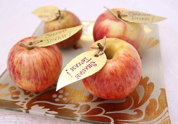 Rosh Hashanah Apple Place-cards & Centerpieces.