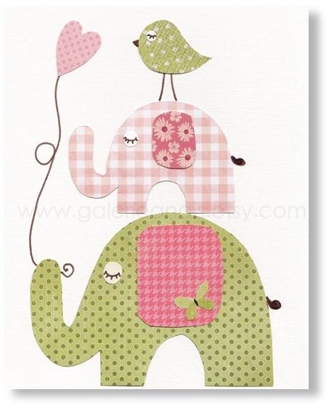 Illustration pour chambre d'enfant fille et garcon decoration elephant