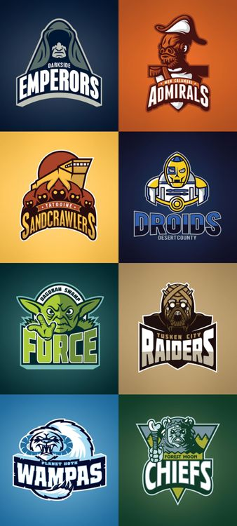 scificity:  http://scificity.tumblr.com Star Wars sports team logos                                                                                                                                                                                 Más