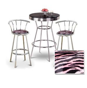 "Chrome Bar Table & 2 Chrome 29"" Pink Zebra Faux Fur Fabric Seat Barstools"