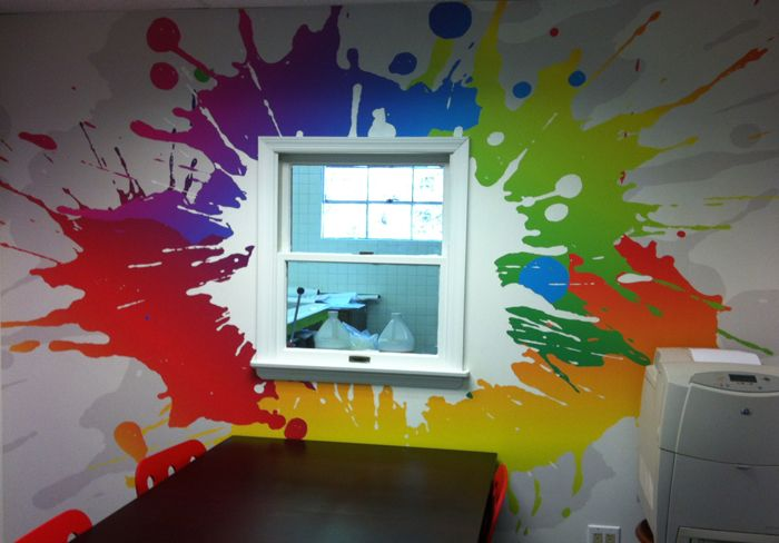 Paint splatter decorating ideas google search emma 39 s artist paint splatter room pinterest for How to paint a wall mural in a bedroom