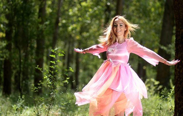 Meisje, Fairy, Forest, Jurk, Roze, Blond, Schoonheid