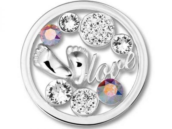 Now 50% off and FREE SHIPPING on all orders! Hurry while supplies last! Mi Moneda Coin: Baby Feet Crystal, Stainless Steel Open Disc with Swarovski CrystalsSize: LargeCollection: Baby Feet | Silver Pendants from SVS Fine J...