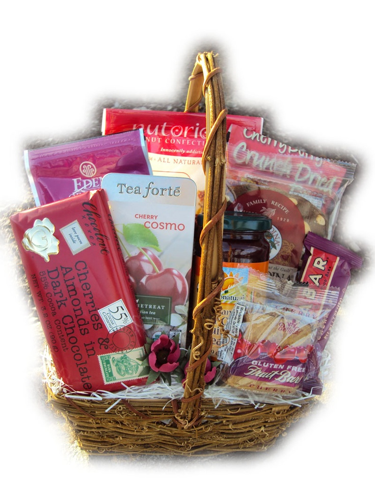 Cherry-Themed Cancer Fighting Gift Basket--Cherries are very powerful when it comes to fighting cancer--containing compounds that help prevent cancer, inhibit the growth of cancer cells, and induce tumor regression.