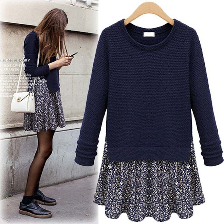 Find More Pullovers Information about XL 5XL Big size XXXL 2014 Autumn European Style Fake Two Pieces Chiffon Patchwork Knitted Women's Pullover Sweaters Dress,High Quality sweater dress 2012,China sweater red Suppliers, Cheap sweater knit dress from Yagle Plus Size Fashion Center Co., Ltd on Aliexpress.com