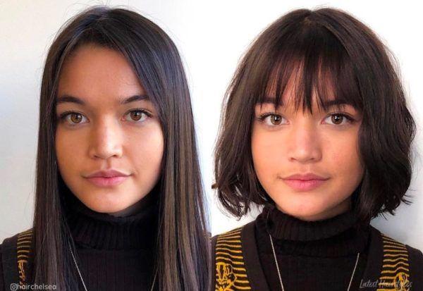 Frisuren Rundes Gesicht Vorher Nachher In 2020 Frisuren Rundes Gesicht Haarschnitt Rundes Gesicht Pony Frisur Rundes Gesicht