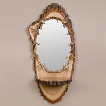 Oval Slab Antler Mirror   Antler Decor   Rustic Cabin Accessories