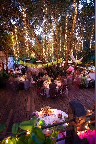 Outdoor Wedding Reception - Hanging strands of lights