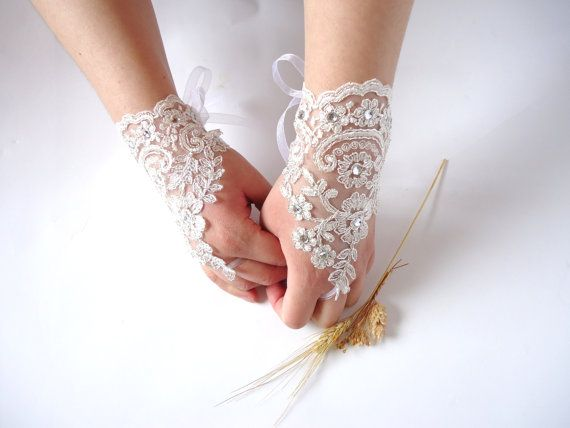 Wedding Gloves Sparkling Stones Lace Wedding Accessory by bytugce, $28.00