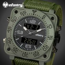 INFANTRY Mens Watches LED Reloj Analog Digital Military Square Sports Watch Army Green Nylon Quartz Male Waterproof Wristwatches(China (Mainland))