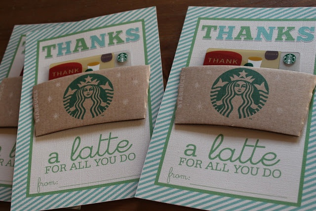 Thanks a latte for all you do. cute room parent gift idea! Free downloadable jpg on this site for the cards! Just print, then add your own sleeve n gift card and sign it. How simple!