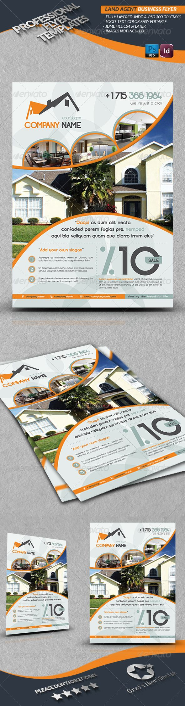 Land Agent Business Flyer - Corporate Flyer Template PSD, InDesign INDD. Download here: http://graphicriver.net/item/land-agent-business-flyer/2922593?s_rank=396&ref=yinkira