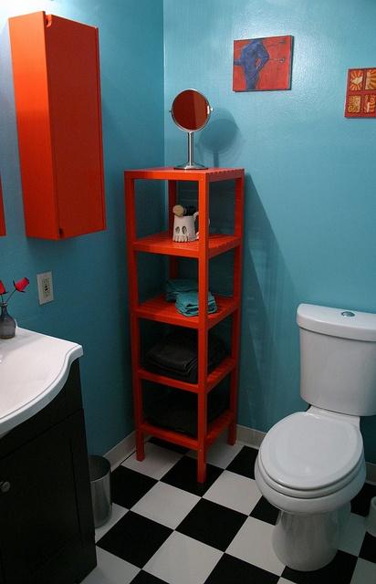 RAD bathroom remodel from BreadNBadger. Orange! Blue! SKULLS!