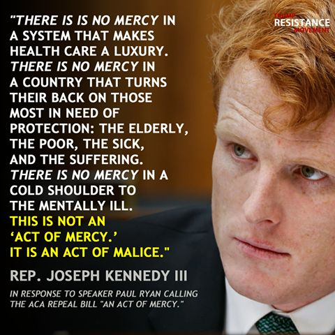 "Rep. Joseph Kennedy III responds to Paul Ryan's calling the ACA Repeal Bill ""an act of mercy"""