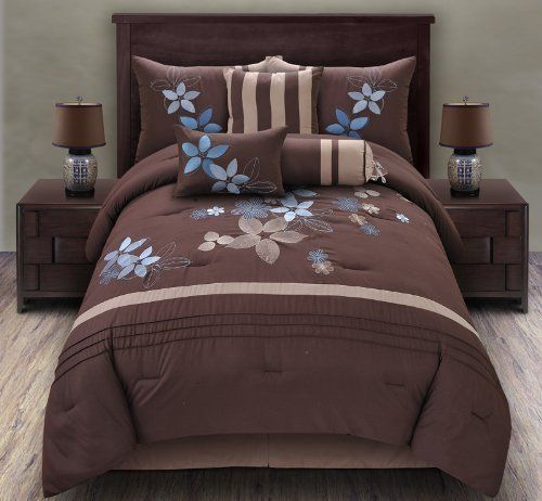 """7 Piece Queen Blair Embroidered Comforter Set Blue/Coffee by KingLinen. $69.99. This comforter showcases oversized leaf and floral motif on soft, warming coffee ground. The stripe and pleated accents further enhance the look. An eclectic set that will be great for any bedroom. 3 decorative pillows included.FeaturesSize: QueenColor: Blue/Coffee100% PolyesterMachine washableThis set includes:1 Comforter (86""""x86"""")2 Shams (20""""x26"""")1 Bedskirt(60""""x80""""+14"""")3 D..."""