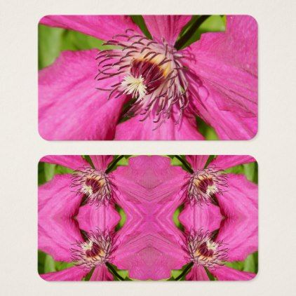 Clematis - pink petals flower - natural background business card - pink gifts style ideas cyo unique