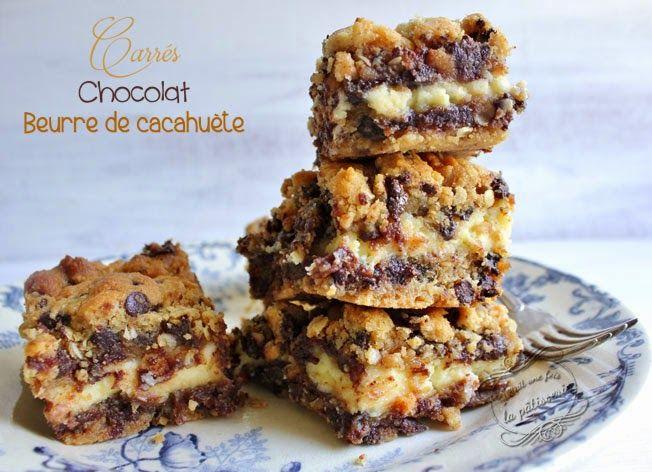 Recette de carrés au pépites de chocolat, beurre de cacahuète et crème au philadelphia.