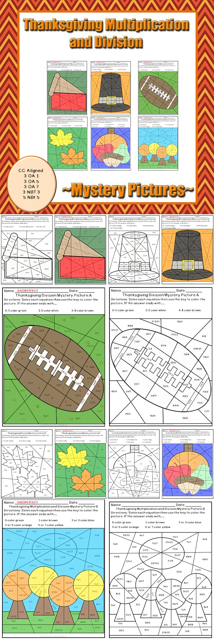 Just in time for Thanksgiving, these mystery picture puzzles are great for math fact practice. Have students review their basic multiplication and division fast facts with these six different worksheets. Great for individual practice or use in centers, these no prep pages are easy to incorporate anywhere in the classroom